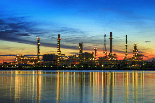 DFT petrochemical plant in night time